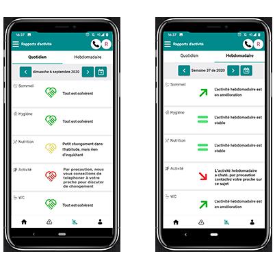 rapports NOVIACARE Application mobile